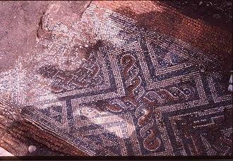 Isca Dumnoniorum - Image: Roman mosaic under St Catherine's, Exeter geograph.org.uk 1140583