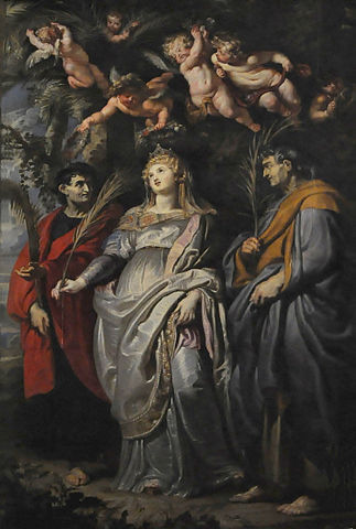 Святая Домицилла, поддерживаемая святым Нереем и святым Ахиллесом Римским. 1608, масло, холст. 425×280см. Рим, Санта-Мария-ин-Валичелла