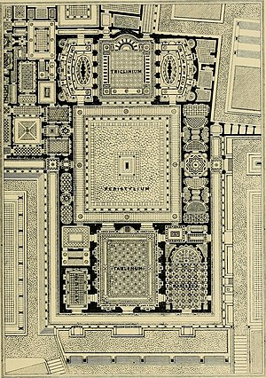 Flavian Palace - Plan of Domus Flavia from Archaeological Rambles, Boissier, Gaston, New York (1896)