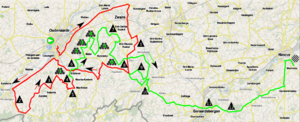 Tour of Flanders for Women - Route of the 2011 race. The last kilometers are in green.