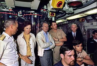 President Jimmy Carter, his wife and Admiral Hyman G. Rickover, USN (wearing tie) aboard the submarine USS Los Angeles in 1977 Rosalynn Carter, Jimmy Carter and Admiral Hyman Rickover aboard the submarine USS Los Angeles. - NARA - 174924.jpg