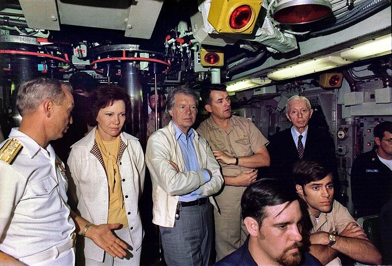 Rosalynn Carter, Jimmy Carter and Admiral Hyman Rickover aboard the submarine USS Los Angeles. - NARA - 174924.jpg