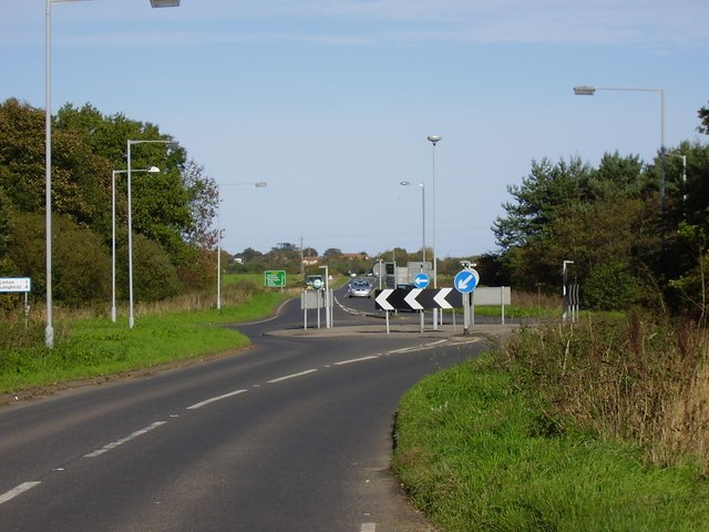 Roundabout on the A189 spine road between Woodhorn and Ellington - geograph.org.uk - 268885