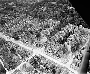 "Ernst Nolte - The ruins of Hamburg after the 1943 firebombing. Nolte called British ""area bombing"" of Germany a policy of ""genocide"""