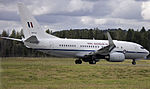 Royal Australian Air Force (A36-002) Boeing 737-7DF BBJ on the main runway at the Canberra Airport (2).jpg