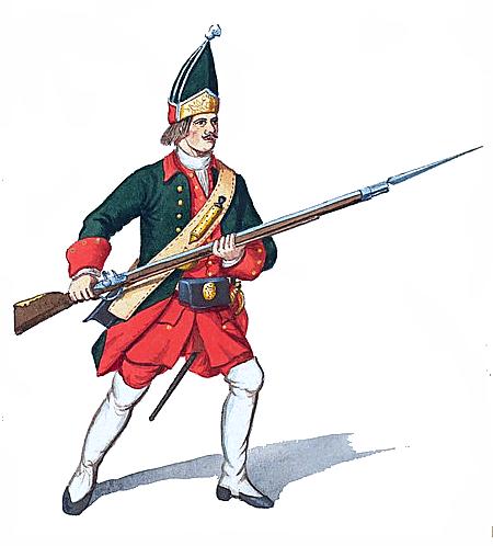 Russian grenadier in 1732