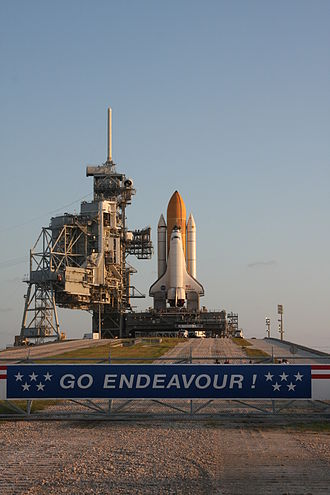 STS-126 - Endeavour at launch pad 39B prior to moving to pad 39A.