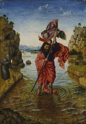 Saint Christopher (after van Eyck) - Philadelphia Museum of Art. Oil on panel, 29.5cm x 21.1cm