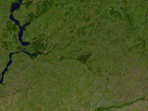 Samara River - Lower Samara from space, Ural River at lower right