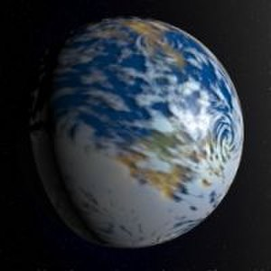 Worldbuilding - A rendered constructed world as seen from outer space