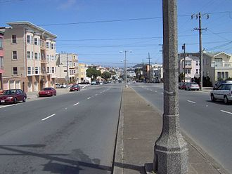 Geary Boulevard - Geary Boulevard, looking eastbound at 36th Avenue, in a residential part of the Richmond District