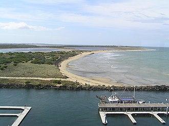 Swan Island (Victoria) - View across Queenscliff Harbour to Sand Island and Swan Island