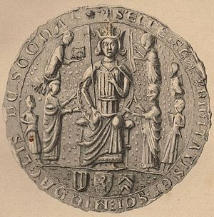 Scone, Scotland - Seal of Scone Abbey, depicting the inauguration of King Alexander III of Scotland
