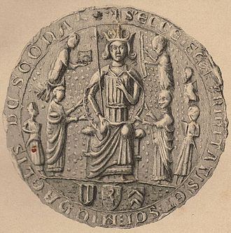 Earl of Fife - Seal of Scone Abbey, made c. 1250. The Earl of Fife's shield is shown at the bottom-left, displaying the early striped version