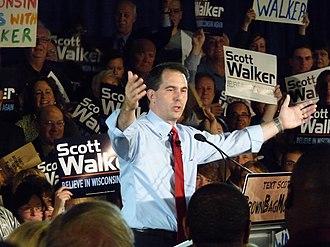 Scott Walker (politician) - Walker after winning the 2010 Republican gubernatorial primary