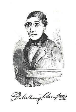Daniel M'Naghten - Artist's sketch of Daniel M'Naghten and an engraving of his signature.