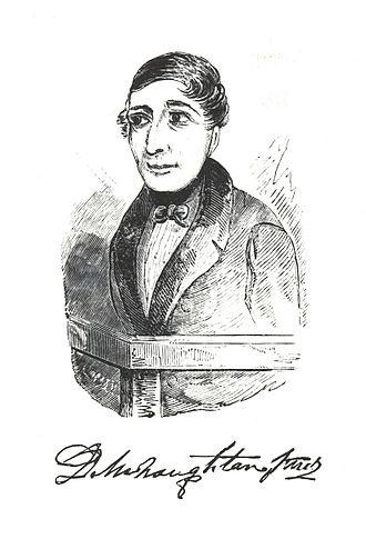 Daniel M'Naghten - Artist's sketch of Daniel M'Naghten and an engraving of his signature.