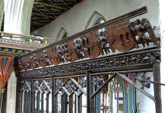 Glossary of architecture - Parclose screen, c.1530, of the Moorhayes Chapel, Cullompton Church, Devon, England