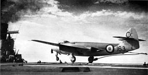 Sea Hawk landing on HMS Centaur (R06) 1956.jpg