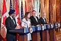 Secretary Pompeo, Secretary Mattis, Canadian Foreign Minister Freeland and Canadian Defense Minister Sajjan Address the Press (44499792130).jpg