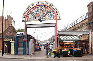 Shepherd's Bush Market - Shepherd's Bush Market viewed from the Uxbridge Road, 2006.