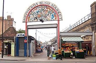 Shepherd's Bush Market - Shepherd's Bush Market viewed from the Uxbridge Road, 2006.