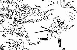 "Tenome - ""Bakemono ni Hone wo Nukareshi Hito no Koto"" (ばけ物に骨をぬかれし人の事), a kaidan (mysterious tale) considered to be based on the tenome, from the Shokoku Hyaku Monogatari. The man on the left has an eyeball on his left hand."