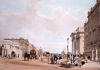 Hyde Park Corner - Hyde Park Corner in 1842, looking east towards Piccadilly. The entrance to Hyde Park through Decimus Burton's Ionic Screen is on the left, and behind it, in darker stone, is Apsley House.