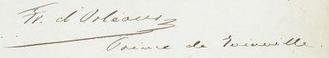 François d'Orléans, Prince of Joinville - Image: Signature of Prince François, Prince of Joinville