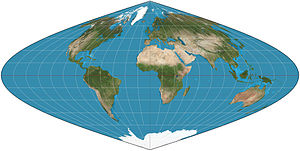 Sinusoidal projection - Sinusoidal projection of the world.