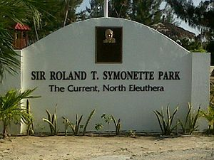 The Bahamas - Sign at the entrance of the Sir Roland Symonette Park in North Eleuthera district commemorating Sir Roland Theodore Symonette, the Bahamas' first Premier