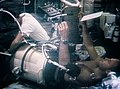 Skylab 3 Astronaut Jack Lousma in Lower Body Negative Pressure Device.jpg