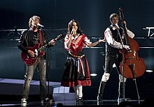 Matjaž Švagelj (left) of Kalamari performing with Barbara Ogrinc and Rok Modic of Roka Žlindre at Eurovision Song Contest 2010.
