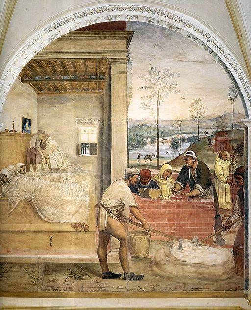 Sodoma, Benedetto appare a due monaci lontani e loro disegna la costruzione di uno monastero