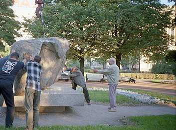 Solovetsky Stone in Saint Petersburg. Installation on a pedestal.jpg
