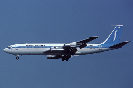 A Somali Airlines Boeing 707-338C in flight (1984). The Mogadishu-based national carrier was relaunched in late 2013. Somali Airlines 6O-SBN FRA 1984-8-16.png