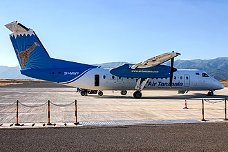 Songwe Airport - An Air Tanzania DHC-8-300 at the airport.