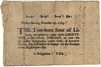 "Sons of Liberty - A 1765 broadside, regarding the ""Sons of Liberty"" organizations and their principles"