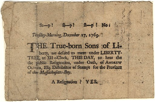 Sons of Liberty Broadside, 1765