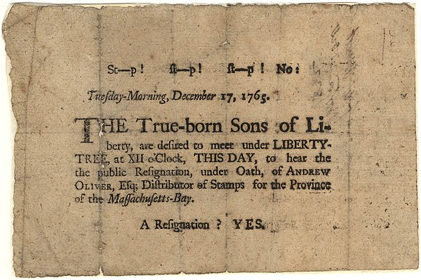 "A 1765 broadside, regarding the ""Sons of Liberty"" organizations and their principles Sons of Liberty Broadside, 1765.jpg"