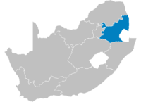 Location of Mpumalanga.
