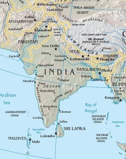 Hindustani, in its standardised registers, is one of the official languages of both India (Hindi) and Pakistan (Urdu). South asia.jpg