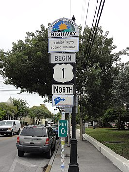 Het begin van US 1 in Key West, Florida