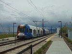 Southeast at TRAX train at South Jordan Parkway station, Apr 16.jpg