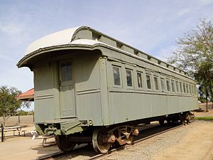 Yuma Quartermaster Depot State Historic Park - Southern Pacific Railroad Passenger Coach Car-S.P. X7, at the park in 2014