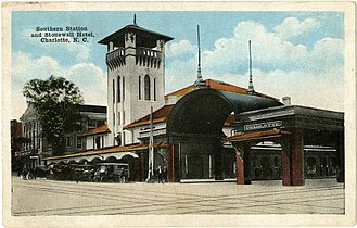 Charlotte station (Amtrak) - Postcard of Southern Station and Stonewall Hotel