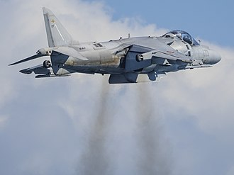 Harrier Jump Jet - A Harrier II in hover with downward jet exhaust