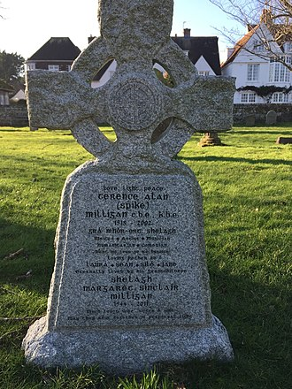 "Spike Milligan - The headstone of Spike Milligan's grave in the grounds of St Thomas' Winchelsea, East Sussex. The name of his last wife was added along with birth and death dates and an additional epitaph. Spike Milligan's epitaph includes the phrase Dúirt mé leat go raibh mé breoite, Irish for ""I told you I was ill.""  The headstone is positioned roughly midway between the New Inn and the church door."