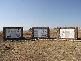 Spion Kop Battlefield Memorials - Information signs at the Memorial Site