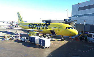 Spirit Airlines - Spirit Airbus A320 number N641NK at Minneapolis–Saint Paul International Airport, prior to boarding.